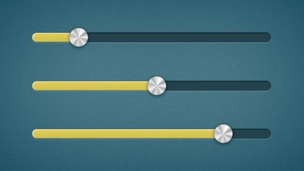 Желтые ползунки с металлическими кнопками Бесплатные Psd