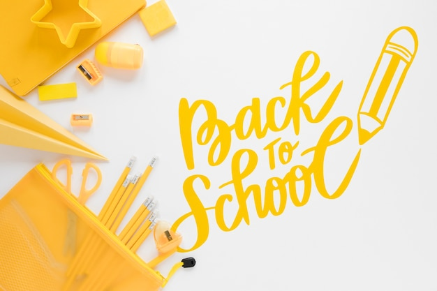 Yellow supplies for back to school event Free Psd