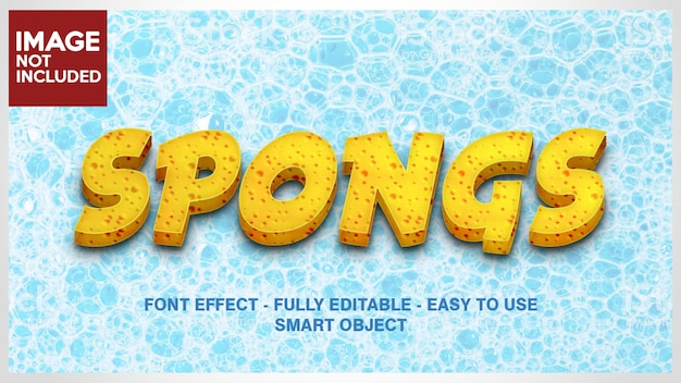 Yellow texture 3d font effect for make sponge effect, cheese effect, biscuit or cake effect with editable layers Premium Psd