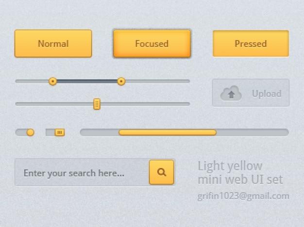 Yellow user interface kit psd Free Psd