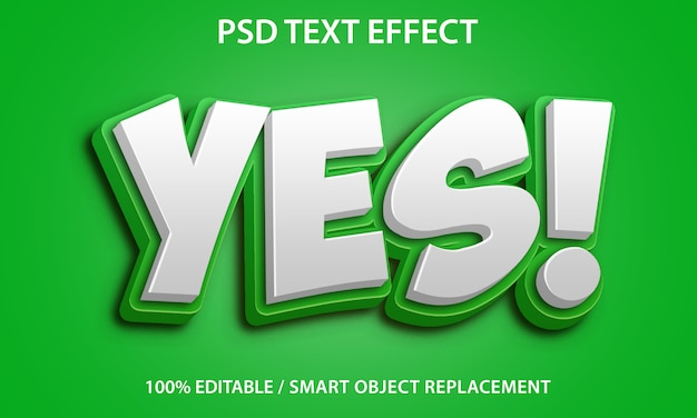 Yes text effect Premium Psd