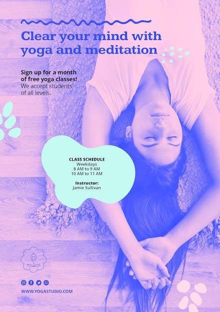 Poster modello di annuncio yoga Psd Gratuite