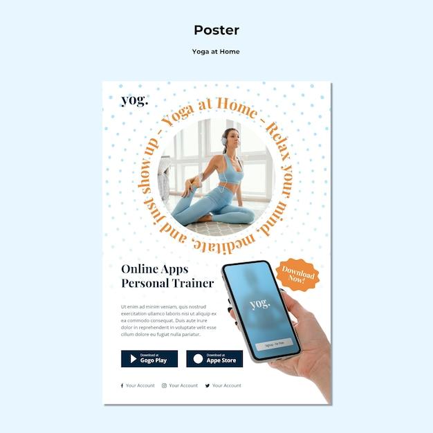Шаблон плаката йоги дома Бесплатные Psd