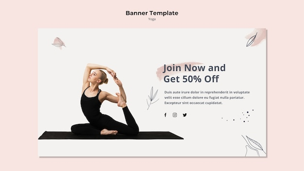 Yoga Banner Template With Discount Free Psd File