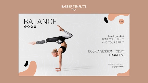 Yoga Banner Template With Girl Free Psd File