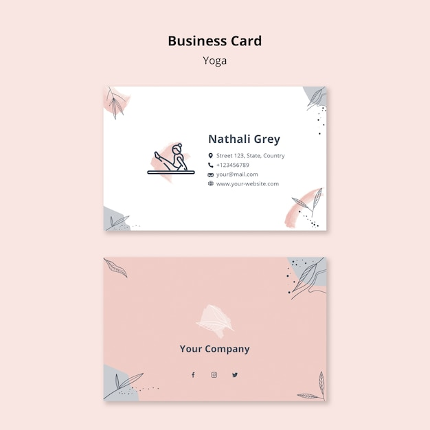 Yoga business card template Free Psd