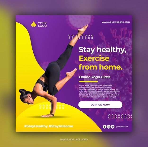 Шаблон баннера класса йоги Premium Psd