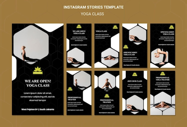Yoga classes social media stories template Free Psd
