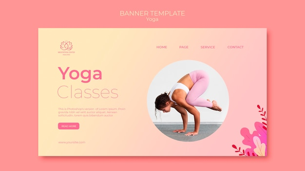 Yoga lessons banner template with photo of woman Free Psd