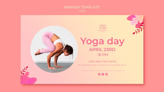 Yoga lessons banner template with photo Free Psd
