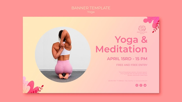Yoga lessons banner template with picture Free Psd