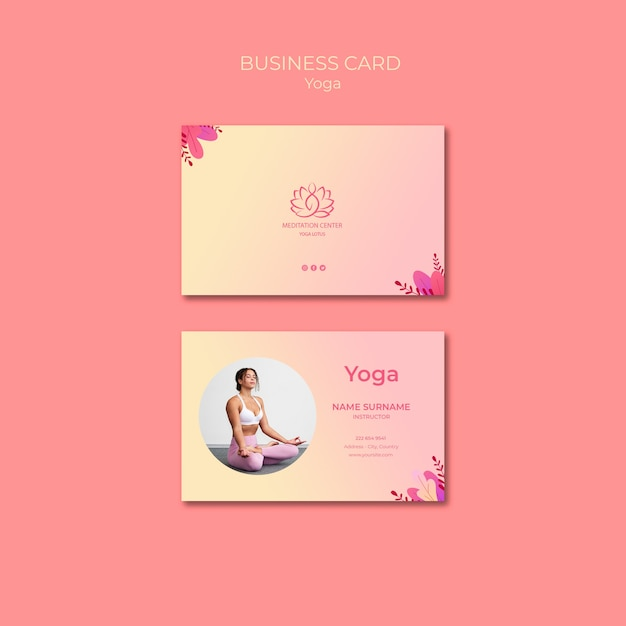 Yoga lessons business card template Free Psd