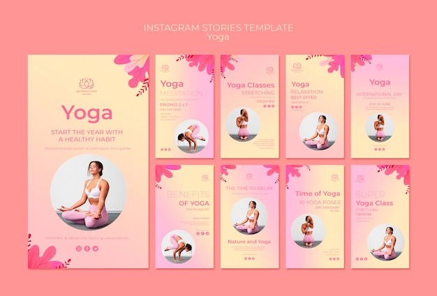 Yoga lessons instagram stories template Free Psd