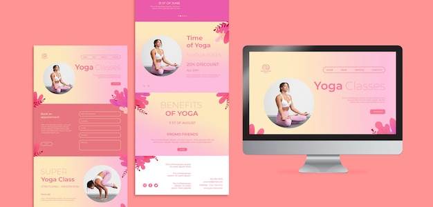 Yoga lessons web templates Free Psd