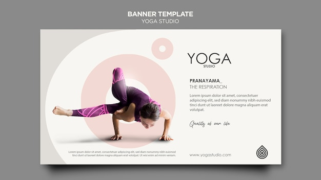 Шаблон баннера студии йоги Бесплатные Psd