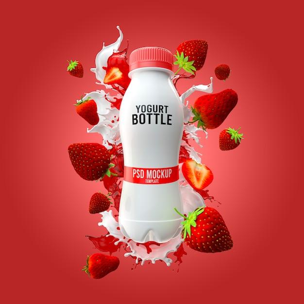 Yogurt bottle mockup with milk splash and strawberry 3d render Premium Psd