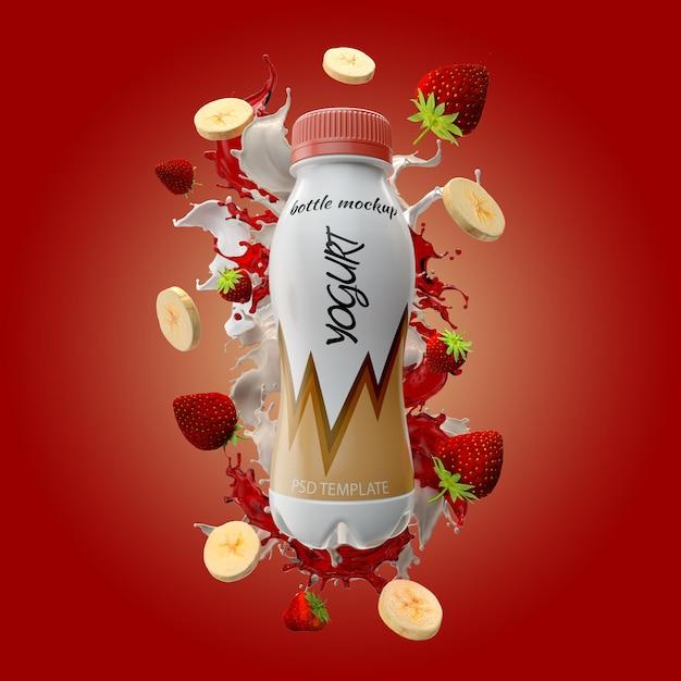 Yogurt bottle with milk splash banana and strawberry mockup Premium Psd