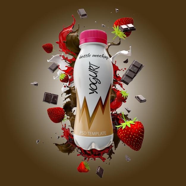 Yogurt bottle with milk splash chocolate and strawberry mockup Premium Psd