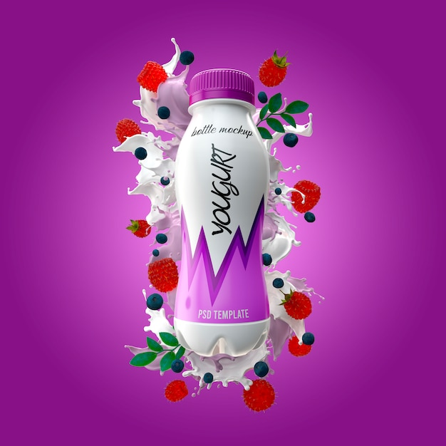 Yogurt bottle with milk splash raspberry and blueberries mockup Premium Psd