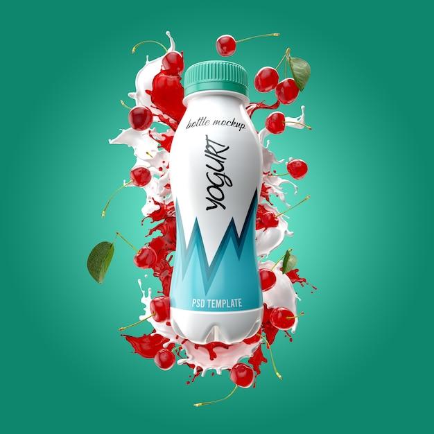 Бутылка йогурта с всплеск и вишневый макет Premium Psd