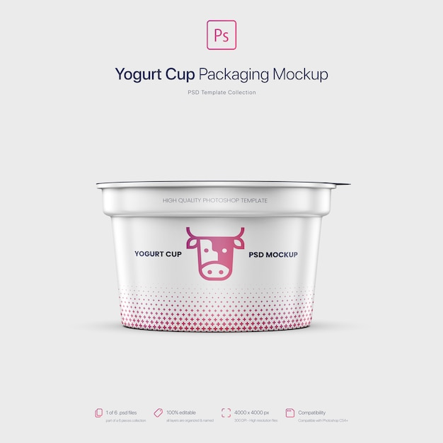 요구르트 컵 포장 이랑 프리미엄 PSD 파일