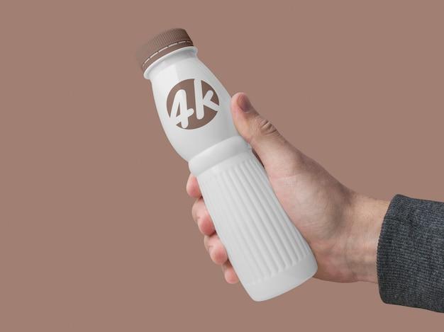 Yogurt dairy bottle mockup Premium Psd