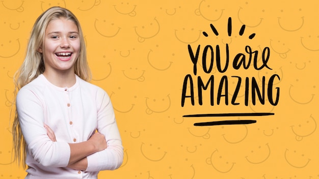 You are amazing cute young girl Free Psd