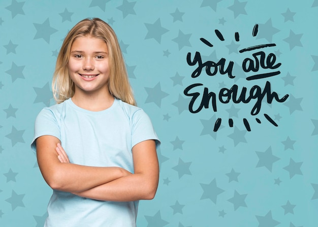 You are enough cute young girl Free Psd