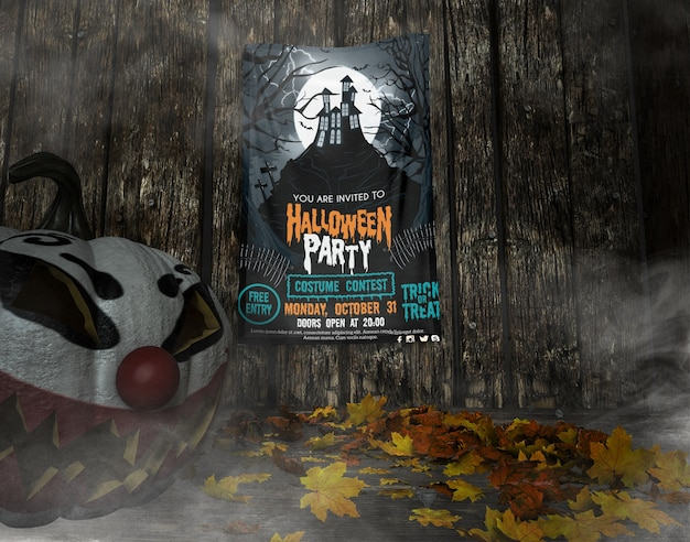 You are invited to halloween party frame mock-up Free Psd