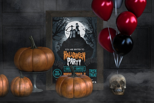 You are invited to halloween party with pumpkins and balloons Free Psd