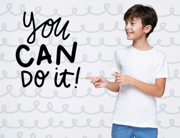 You can do it young cute boy mock-up Free Psd