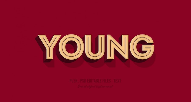 Young 3d text style effect mockup Premium Psd