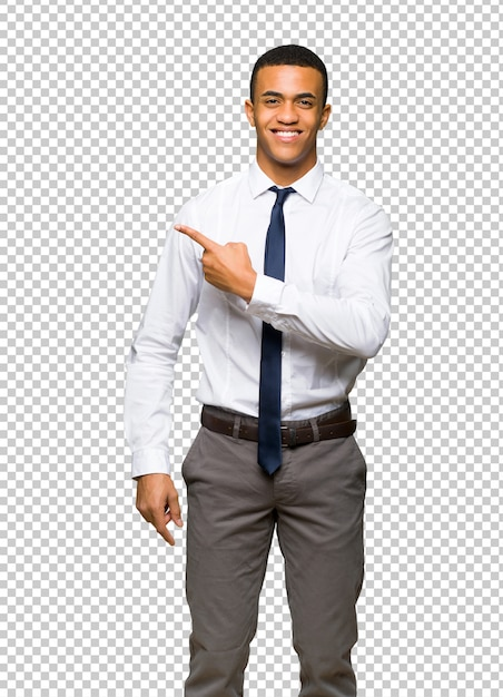 Young afro american businessman pointing to the side to present a product Premium Psd