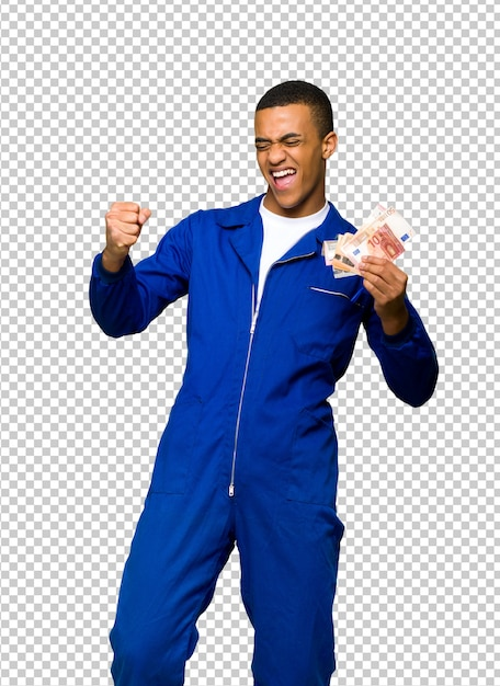 Young afro american worker man taking a lot of money Premium Psd