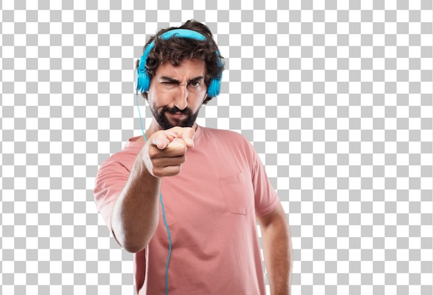 Young bearded man looking angry and surprised, shouting and pointing forward, towards you Premium Psd