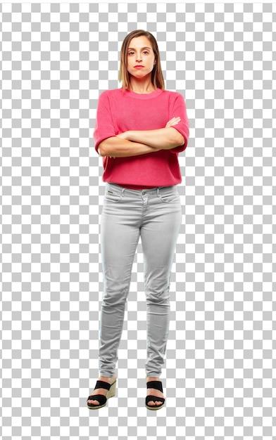 Full Body Shot Profile View Of Young Beautiful Multi