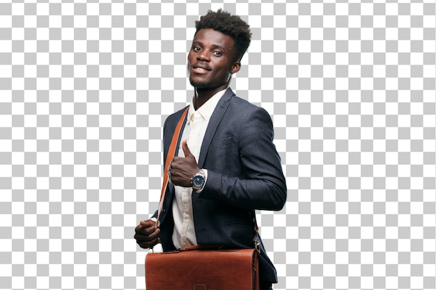 Young black businessman with a satisfied, proud and happy look with thumbs up Premium Psd