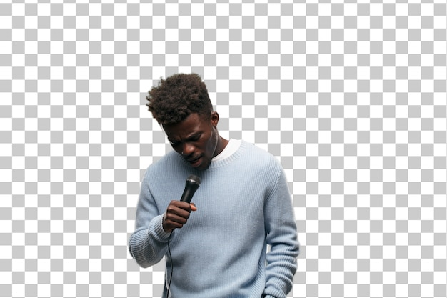 Young black man singing with a microphone Premium Psd