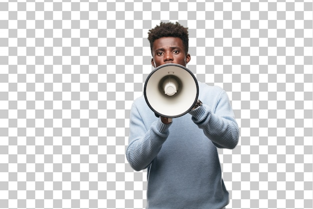 Young black man with a megaphone Premium Psd