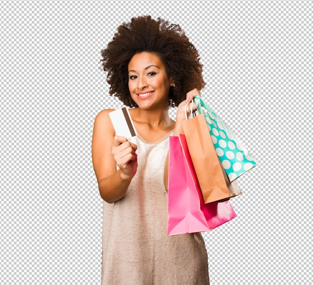 Young black woman going shopping Premium Psd