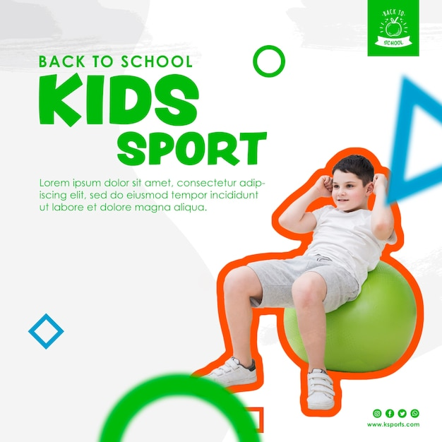 Young boy doing sport template Free Psd