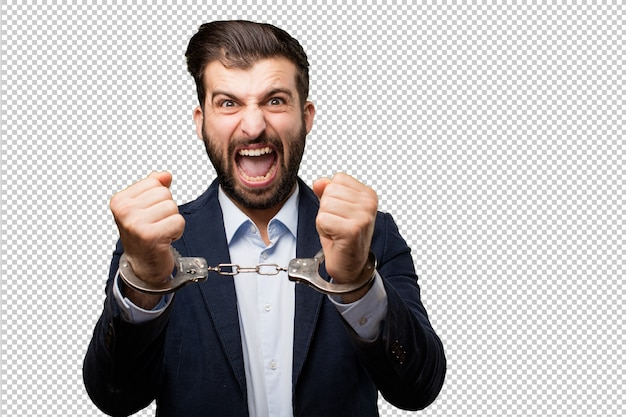 Young businessman showing sign Premium Psd