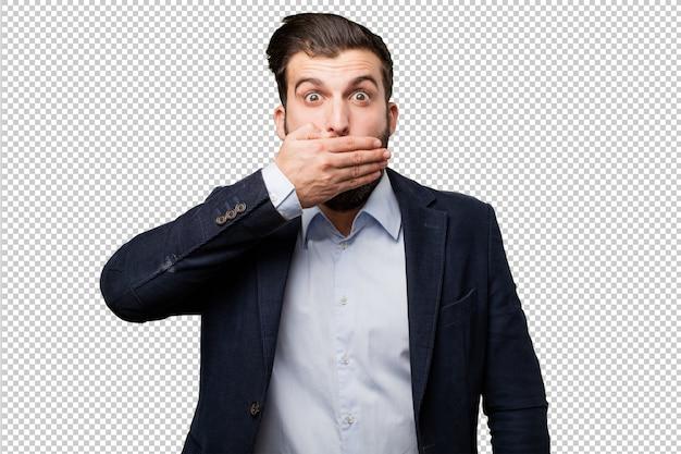 Young businessman with bills Premium Psd