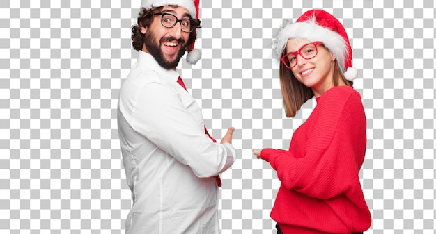Young couple expressing christmas concept. couple and background in different layers Premium Psd