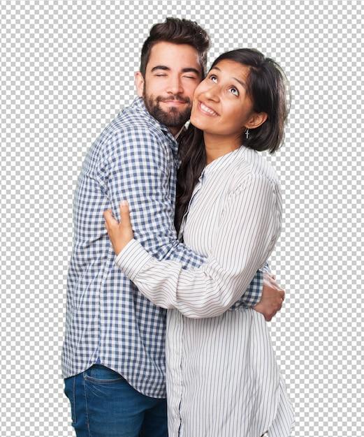 白で愛の若いカップル Premium Psd