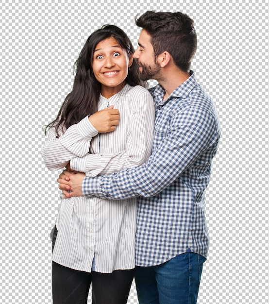 Young couple whispering Premium Psd