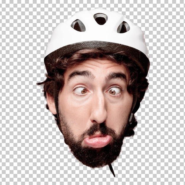 Young crazy bearded man cutout head expression isolated. cyclist role. joking concept Premium Psd