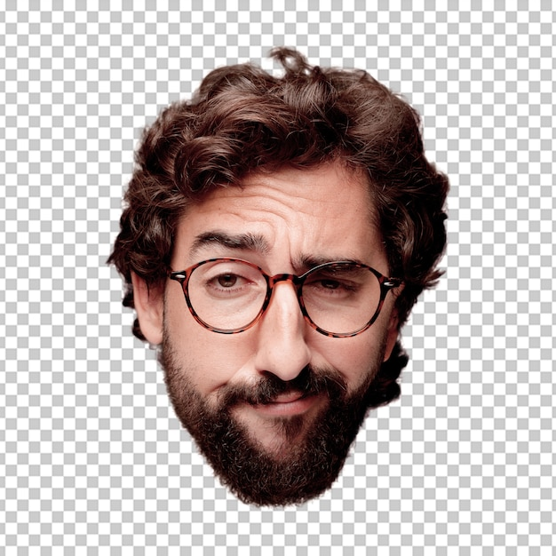 Young crazy bearded man cutout head expression isolated. hipster role with view glasses Premium Psd