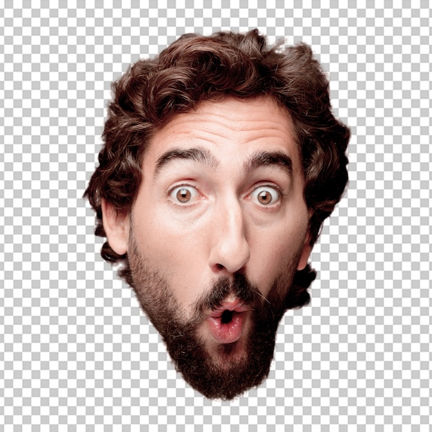Young crazy bearded man cutout head expression isolated.. surprised concept Premium Psd