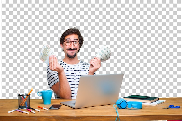 Young crazy graphic designer on a desk with a laptop and pay, buying or money concept Premium Psd